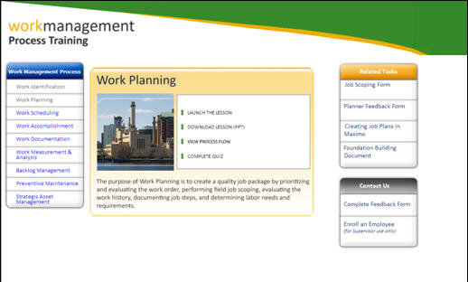 Figure 1: The Work Planning lesson within the Work Management Process Training site