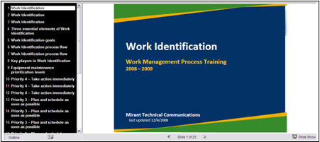 Figure 3: An embedded PowerPoint presentation in the training site.