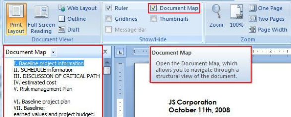 Do you know about Document Map in Microsoft Word?